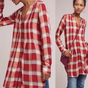 Anthro Akemi & Kin Plaid Oversized Long Sleeve Top